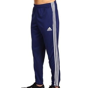 Adidas blue track pants with side zips. (Men's M)